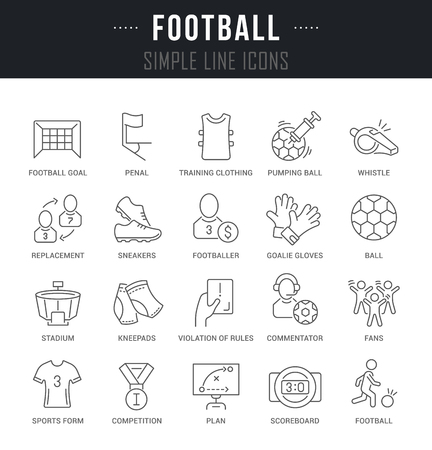 Collection of linear icons of football with names. Illustration