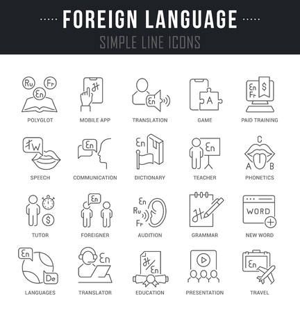Set of outline signs and symbols of foreign language with names. Vector Illustration