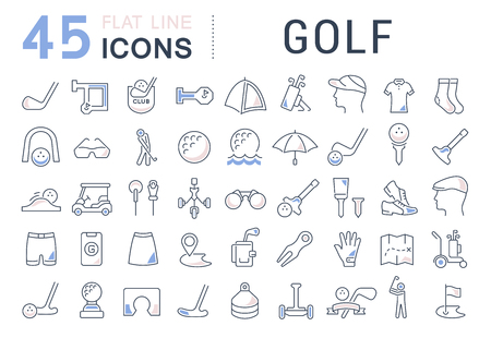 Set of vector line icons of golf for modern concepts, web and apps. 版權商用圖片 - 120737492