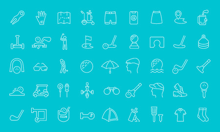 Collection of line white icons of golf. Set of vector simple elements with bold outlines on a color background.