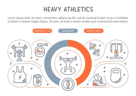 Linear banner of the heavy athletics. Vector linear icons for web sites and applications.