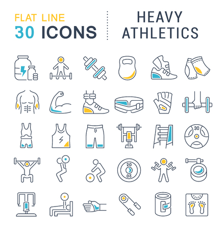 Set of vector line icons of heavy athletics for modern concepts, web and apps.