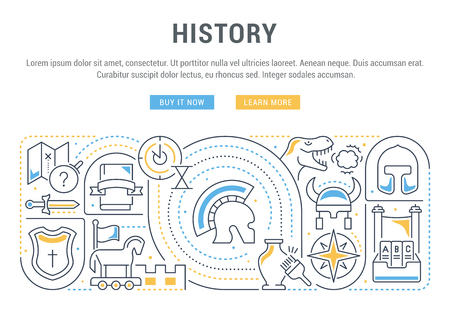 Linear banner of the history. Vector linear icons for web sites and applications. Illustration