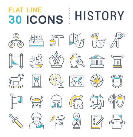 Set of vector line icons of history for modern concepts, web and apps.