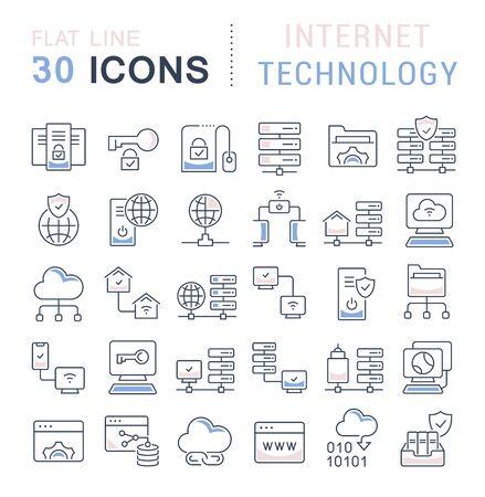 Ensemble d'icônes de ligne vectorielle de la technologie Internet pour les concepts modernes, le Web et les applications.