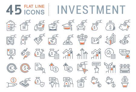 Set of vector line icons of investment for modern concepts, web and apps. Collection of infographics logos and pictograms. Ilustração