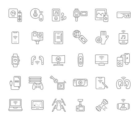 Collection linear icons of modern gadgets for modern concepts, web and apps. Vettoriali