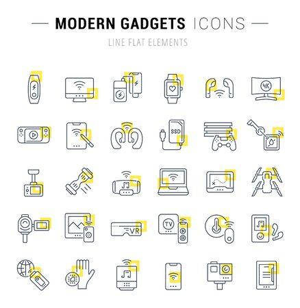 Set di icone e segni di linea vettoriale con quadrati gialli di gadget moderni per concetti eccellenti. Raccolta di loghi e pittogrammi di infografica.