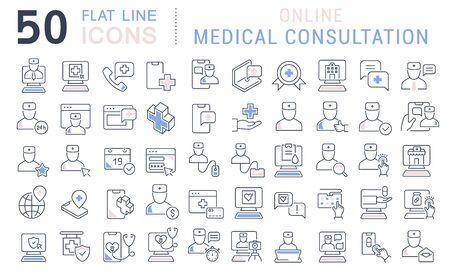 현대적인 개념, 웹 및 앱에 대한 온라인 의료 상담의 벡터 라인 아이콘 세트.
