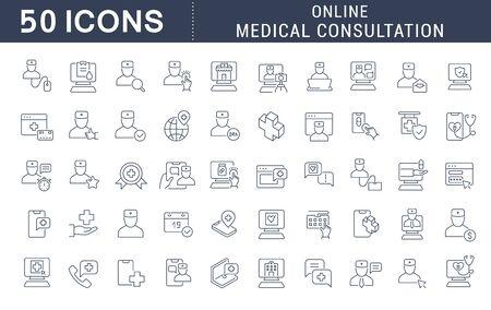 Conjunto de iconos de línea de vector de consulta médica en línea para aplicaciones, web y conceptos modernos.