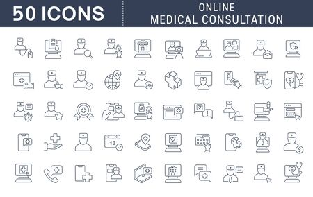 Set of vector line icons of online medical consultation for modern concepts, web and apps.