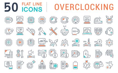 Set of vector line icons of overclocking for modern concepts, web and apps. Иллюстрация