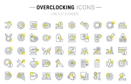 Set of vector line icons and signs with yellow squares of overclocking for excellent concepts. Collection of infographics logos and pictograms.
