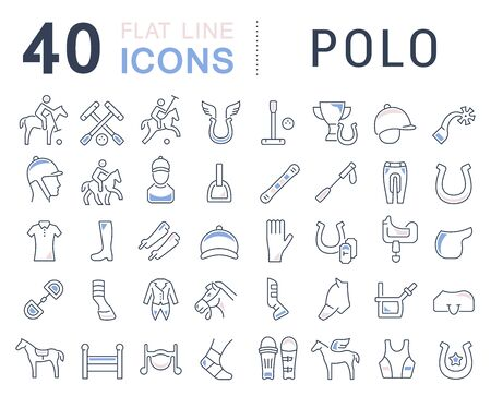 Set of vector line icons of polo for modern concepts, web and apps.