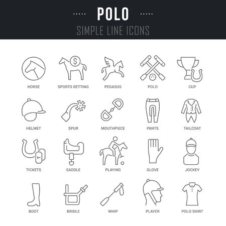 Collection linear icons of polo with names. Illustration