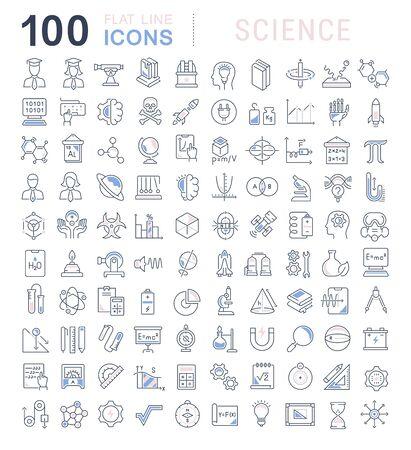 Satz von Vektorliniensymbolen der Wissenschaft für moderne Konzepte, Web und Apps. Vektorgrafik