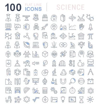 Set of vector line icons of science for modern concepts, web and apps. Vecteurs
