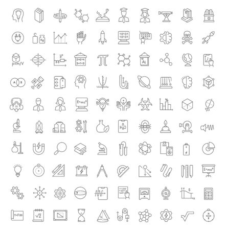 Set of vector line icons of science for modern concepts, web and apps.