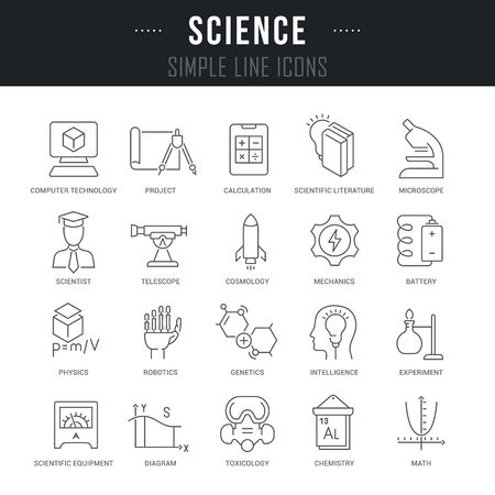 Collection linear icons of science with names.