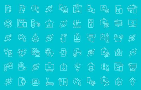 Collection of line white icons of smart house. Set of vector simple elements with bold outlines on a color background. Info graphics signs and pictograms.