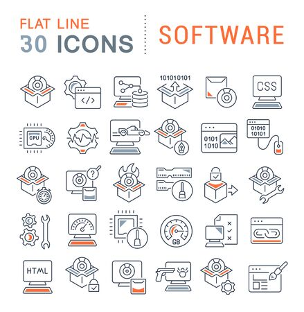 Set of vector line icons of software for modern concepts, web and apps. Vecteurs