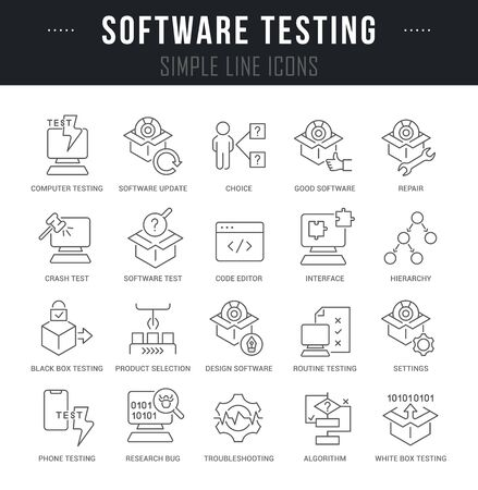 Collection linear icons of software testing with names.