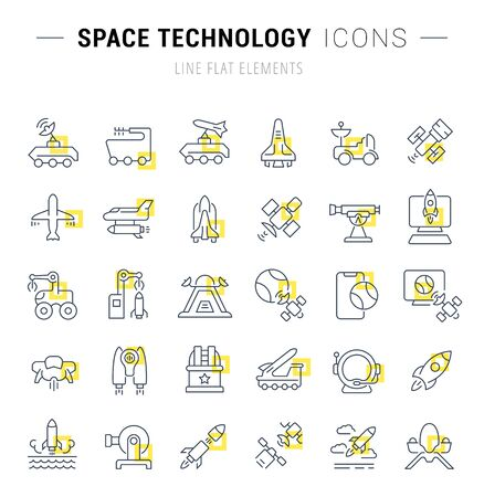 Set of vector line icons and signs with yellow squares of space technology for excellent concepts.