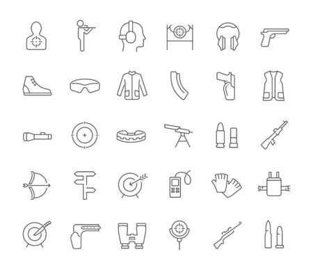 Set of vector line icons of sport shooting for modern concepts, web and apps.