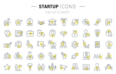 Set of vector line icons and signs with yellow squares of startup for excellent concepts. Collection of infographics logos and pictograms.