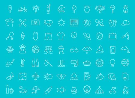 Collection of line white icons of summer. Set of vector simple elements with bold outlines on a color background.