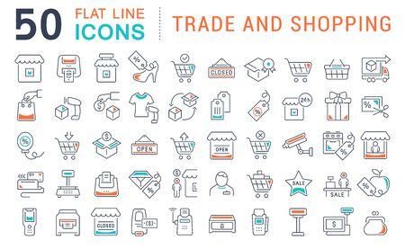 Set von Vektorliniensymbolen für Handel und Einkaufen für moderne Konzepte, Web und Apps.