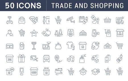 Conjunto de iconos de líneas vectoriales de comercio y compras para aplicaciones, web y conceptos modernos.