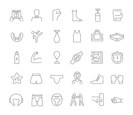 Set of vector line icons of ufc for modern concepts, web and apps.