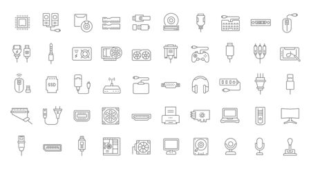Set of vector line icons of upgrading computer components for modern concepts, web and apps.