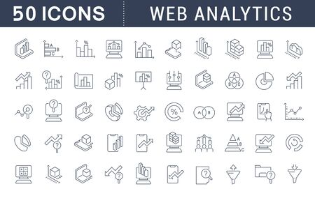 Set of vector line icons of web analytics for modern concepts, web and apps.
