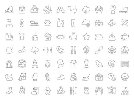 Set of vector line icons of winter for modern concepts, web and apps.
