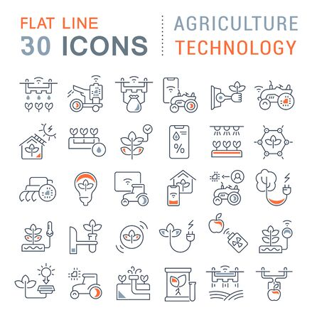 Set of vector line icons of agriculture technology for modern concepts, web and apps. Ilustración de vector