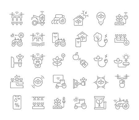 Ensemble d'icônes de ligne vectorielle de la technologie agricole pour les concepts modernes, le Web et les applications.