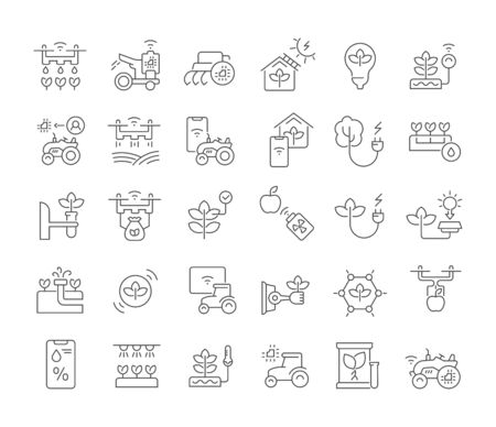 Set di icone della linea vettoriale della tecnologia agricola per concetti moderni, web e app.