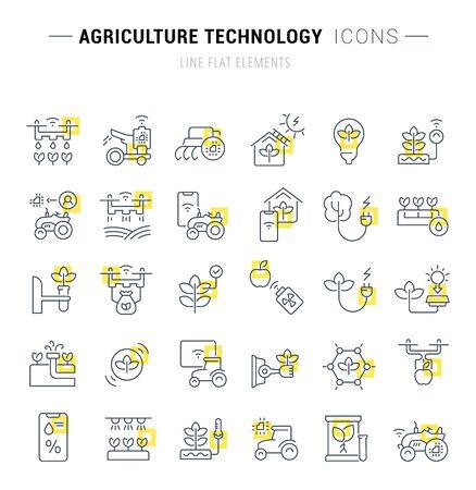 Ensemble d'icônes et de panneaux vectoriels avec des carrés jaunes de technologie agricole pour d'excellents concepts. Vecteurs
