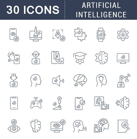 Set of vector line icons of artificial intelligence for modern concepts, web and apps.