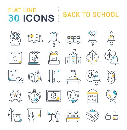 Set of vector line icons of back to school for modern concepts, web and apps.