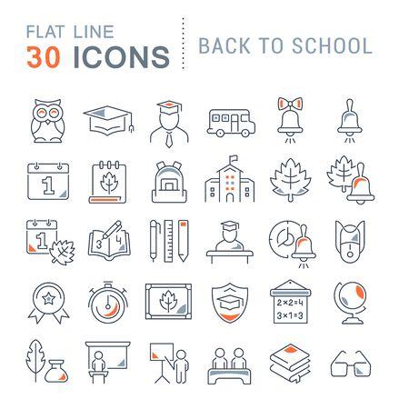 Conjunto de iconos de línea vectorial de regreso a la escuela para aplicaciones, web y conceptos modernos. Ilustración de vector