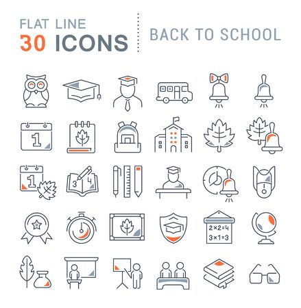 Set of vector line icons of back to school for modern concepts, web and apps. Vektoros illusztráció