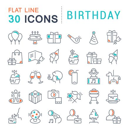 Set of vector line icons of birthday for modern concepts, web and apps.