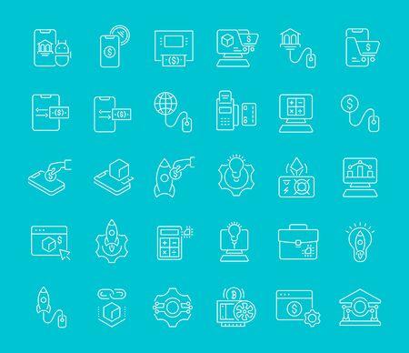 Satz von Vektorliniensymbolen der Geschäftstechnologie für moderne Konzepte, Web und Apps.