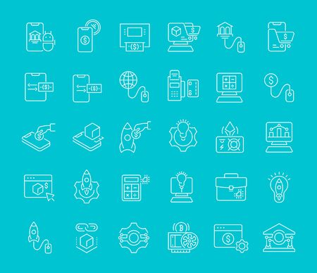 Set of vector line icons of business technology for modern concepts, web and apps.