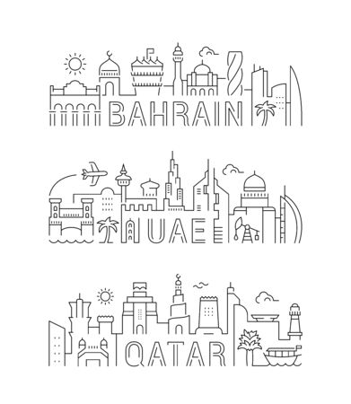 The collection of linear banners for cards and websites. Illustrations of UAE, Qatar and Bahrain. 矢量图像
