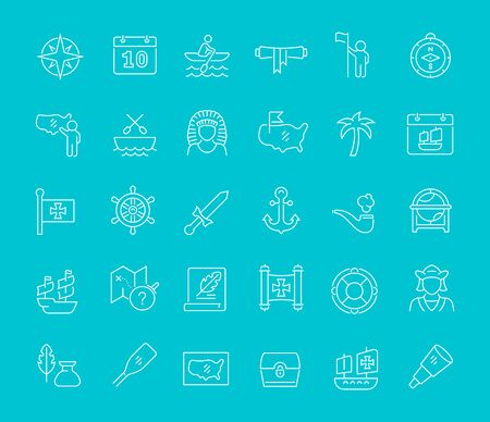 Set of vector line icons of columbus day for modern concepts, web and apps.