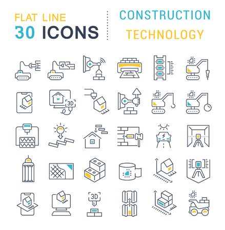 Set of vector line icons of construction technology for modern concepts, web and apps.
